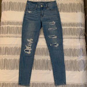 America Eagle Hi-Rise Jegging Distressed Jeans